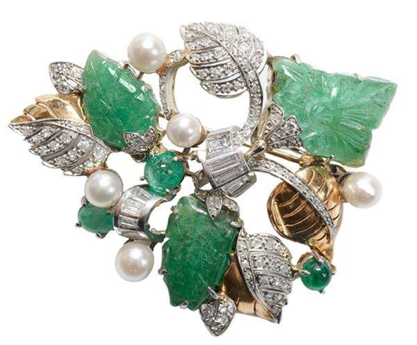 Vintage Emerald, Pearl Brooch