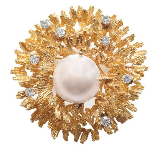 14 Kt. Gold Brooch with Mabé Pearl
