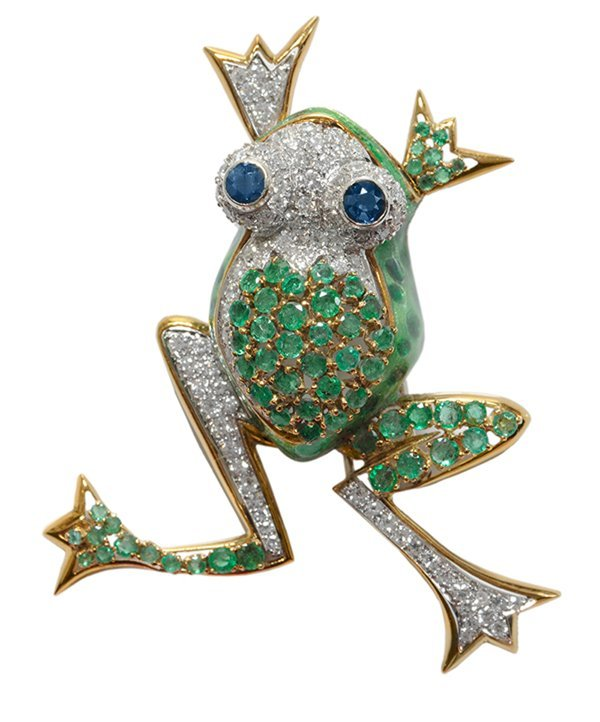Frog Brooch with Diamonds,