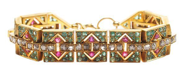 Gold Art Deco Emerald, Ruby and
