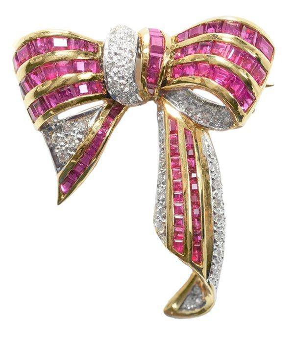 18 Kt. Gold Ruby, Diamond Brooch