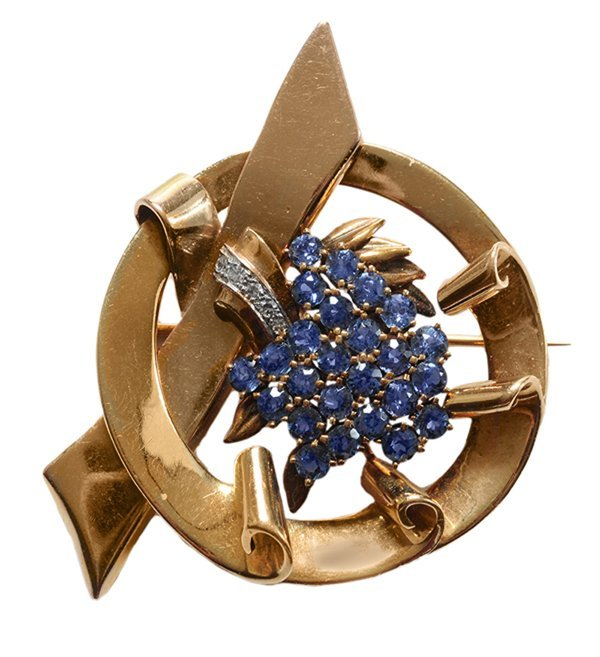 14 Kt. Gold and  Sapphire Brooch
