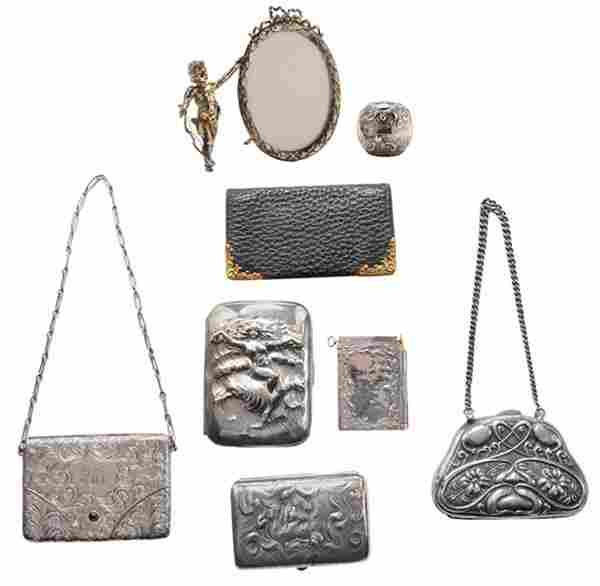 Eight Sterling Purses and Desk Items