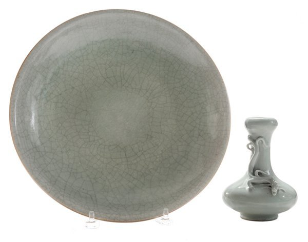 Two Chinese Green Glazed Ceramic