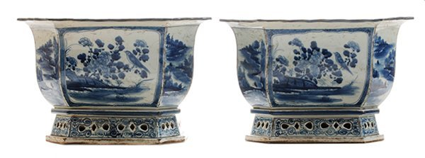 Pair Blue and White Octagonal Footed