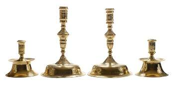 Two Pairs Brass Candlesticks
