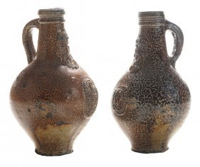 Two Early Stoneware Bellarmine Jugs