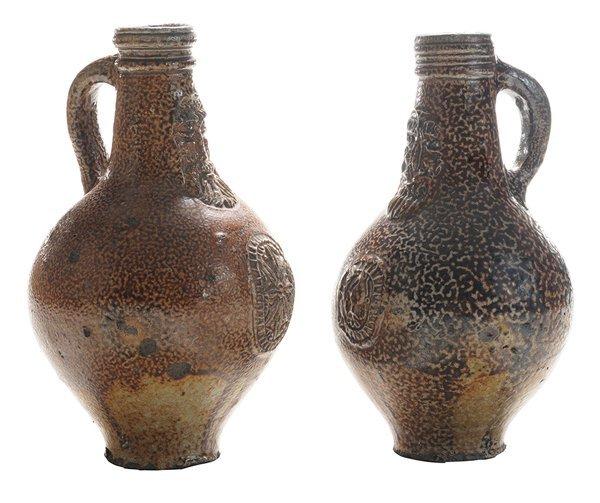 Two Early Stoneware Bellarmine Jugs