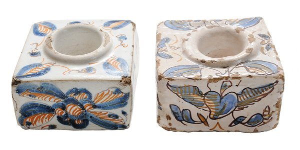 Two Delft Polychromed Inkwells