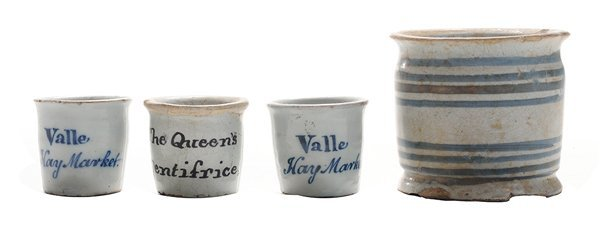Four Early Delft Ointment Jars