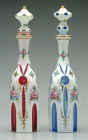 Two cased glass decanters