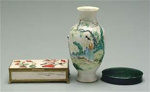Two Oriental boxes, vase