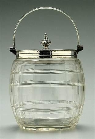 Cut glass biscuit jar,
