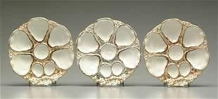 Three ceramic oyster plates