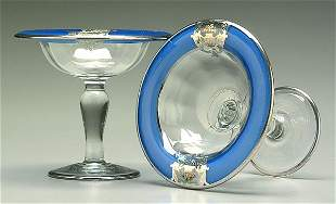 Pair silver overlay compotes,