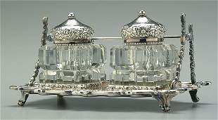 Silver-plated ink stand,