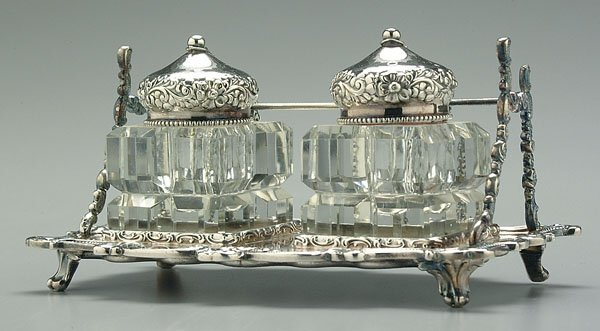 16A: Silver-plated ink stand,