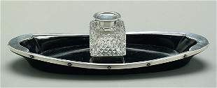 English silver mounted ink stand,