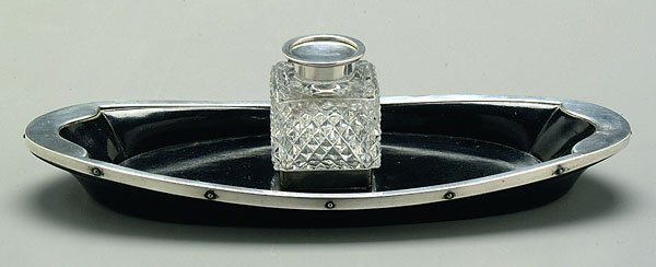16B: English silver mounted ink stand,