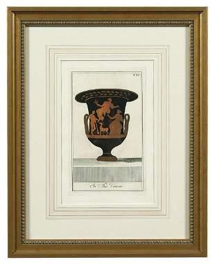 Six Etruscan red urn engravings,