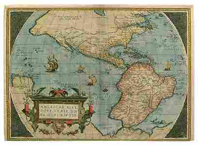 877: 1570 map of North and South America,