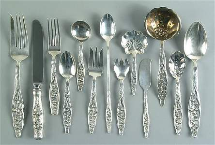 1060: 127 pieces sterling silver flatware,