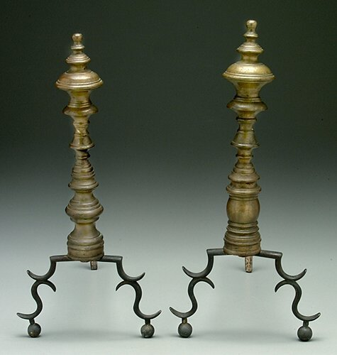 4: Two similar 19th century brass andirons, s