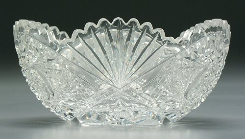 7: Cut glass bowl, hobstar and fan designs, s