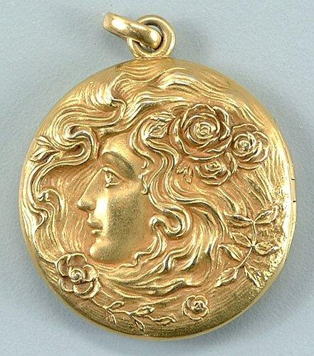 11: Gold art nouveau locket, lady's head, flo