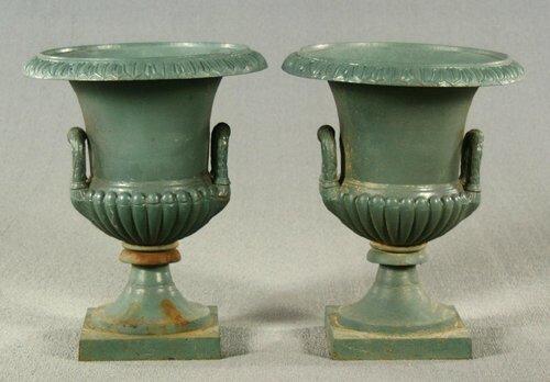 13: Pair cast iron urns, campana form, bell-a