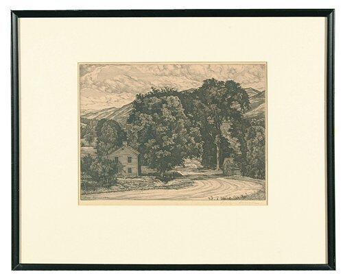 22: Etching by Luigi Lucioni (American, 1900-