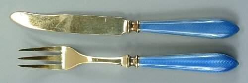 140 20piece enameled sterling silver fruit