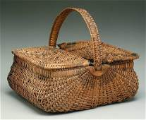 299: Oak split picnic basket, two hinged lids