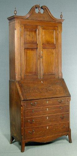 321: Three-piece inlaid walnut secretary/book