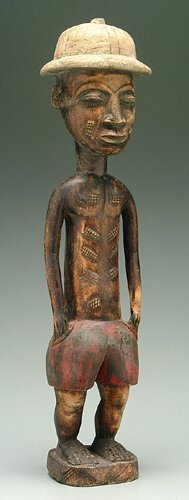 601: Carved wooden figure, black man with whi