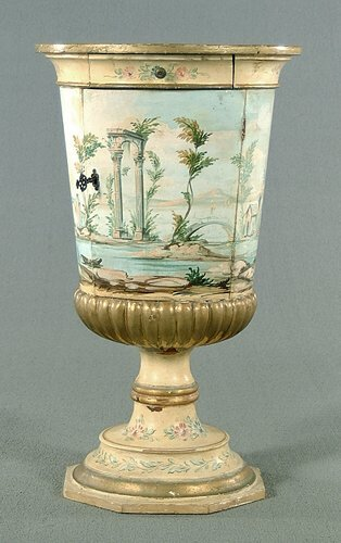 602: Urn-form stand, painted wood, gilt highl