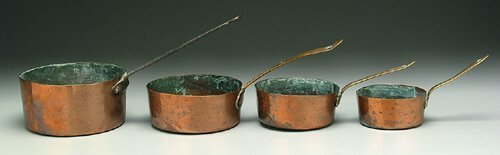 606: Four heavy copper pans, three smallest o