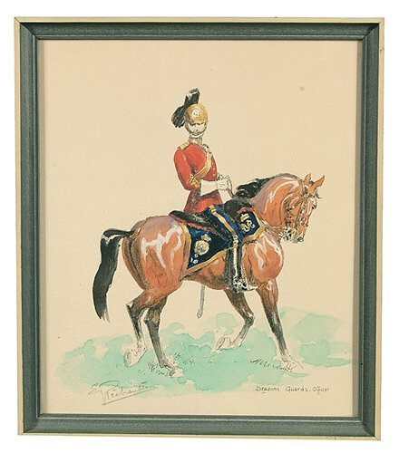 607: Nine hand-colored prints, military figur