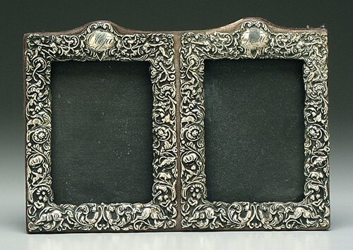 608: Sterling silver double picture frame, Re