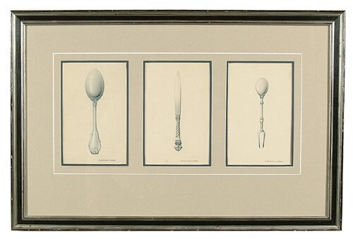 610: Three sketches for flatware, ink, pencil