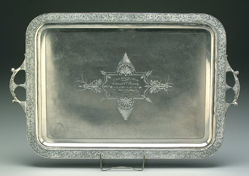 611: Railroad silver-plated tray, Renaissance
