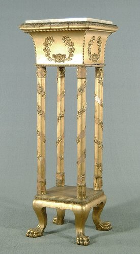616: Marble-top pedestal, gilt-painted base w