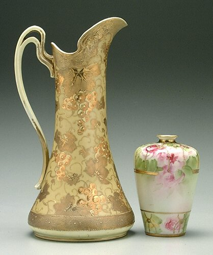 "619: Two pieces marked ""Hand-painted Nippon"":"