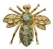 Emerald and Diamond Bee Pin