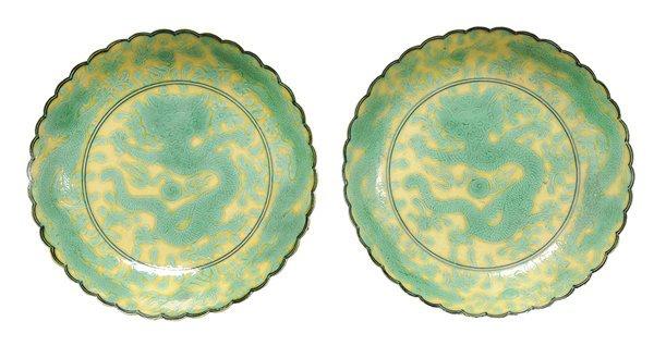 Pair Yellow-Ground Green-Glazed