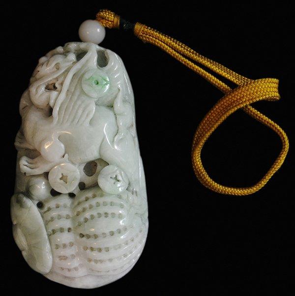 Fine Carved Jadeite Figure of a Flying