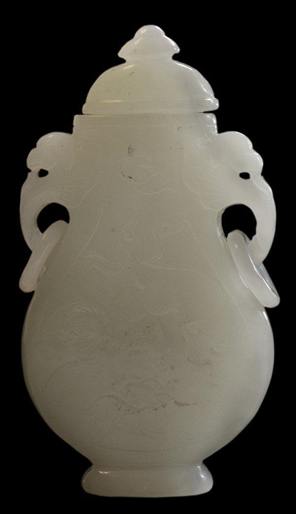 Carved White Jade Covered Vase