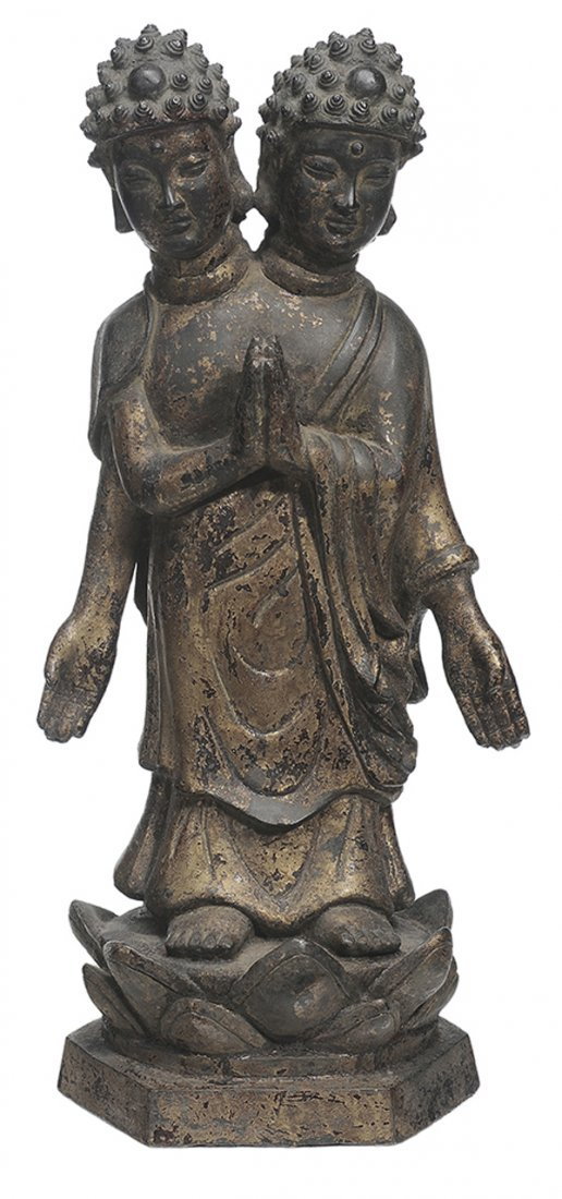 Antique Chinese Gilt Bronze Two-