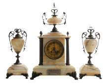 Three-Piece Carved Marble and Brass