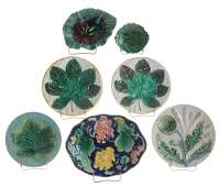 Seven Majolica Plates and Dishes